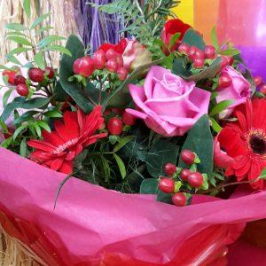 Hot Pink rose and Red gerbera handtied £30