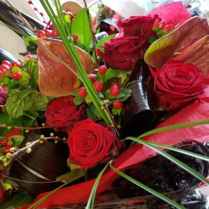 !2 red rose tropical mix bouquet £65